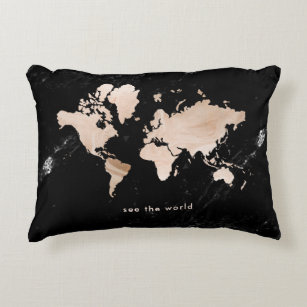 Black World Map Cushions Decorative Throw Cushions Zazzle AU - Black and gold world map