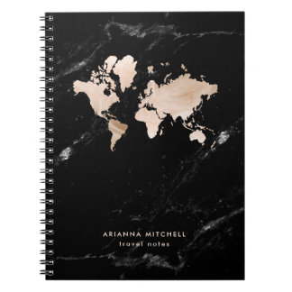 Light Gold World Map on Black Marble Spiral Notebook