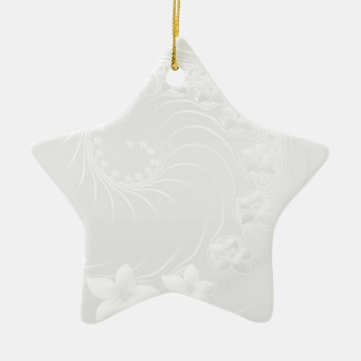Light Gray Abstract Flowers Christmas Ornaments