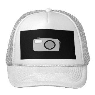 Light Gray and Black Camera On Black Mesh Hat