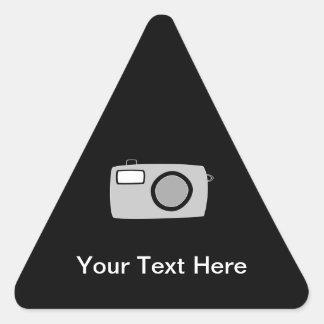 Light Gray and Black Camera. On Black. Triangle Sticker