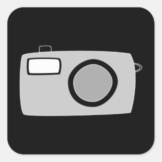 Light Gray and Black Camera. On Black. Sticker