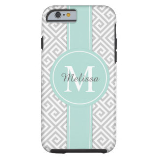 Light Gray and Mint Greek Key Pattern Tough iPhone 6 Case