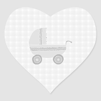 Light gray and white baby pram. heart sticker