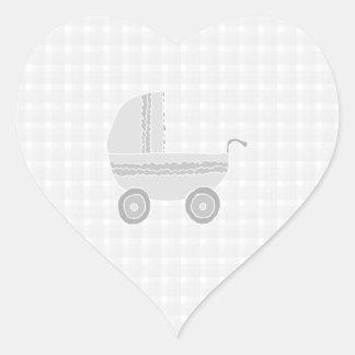 Light gray and white baby pram. heart sticker