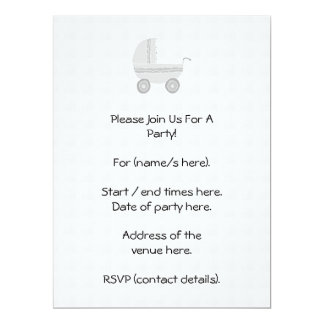 Light gray and white baby pram. personalized invite