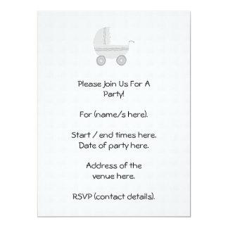 Light gray and white baby pram. 17 cm x 22 cm invitation card