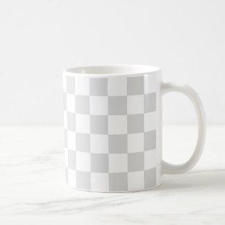 Light Gray and White Checker Pattern Coffee Mug