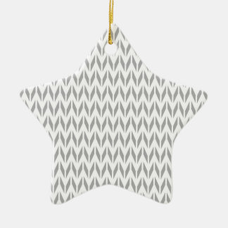 Light Gray and White Chevron Double-Sided Star Ceramic Christmas Ornament
