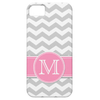 Light Gray and White Chevron with monogram iPhone 5 Covers