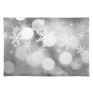 Light gray and white Christmas mat