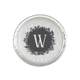 Light Gray and White Leafy Pattern Monogram