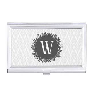 Light Gray and White Leafy Pattern Monogram Business Card Holder