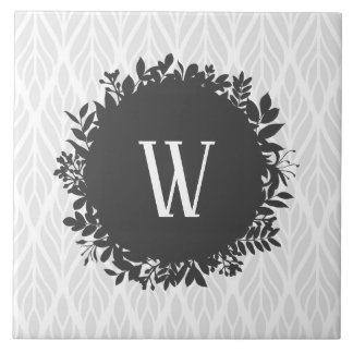 Light Gray and White Leafy Pattern Monogram Ceramic Tile