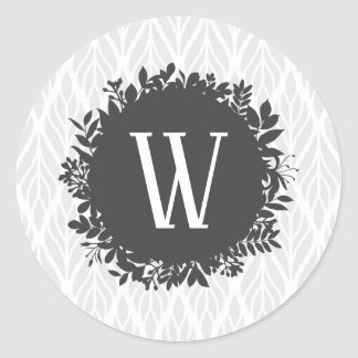 Light Gray and White Leafy Pattern Monogram Classic Round Sticker