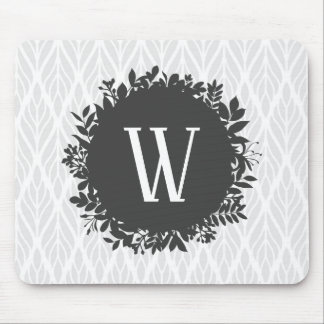 Light Gray and White Leafy Pattern Monogram Mouse Pad
