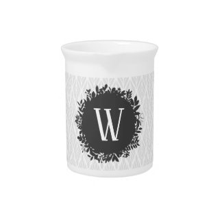 Light Gray and White Leafy Pattern Monogram Pitcher