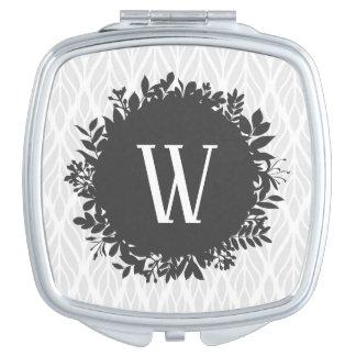 Light Gray and White Leafy Pattern Monogram Travel Mirror