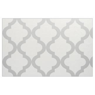 Light Gray and White Moroccan Quatrefoil Print Fabric