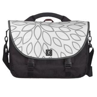 Light Gray and White Retro Flower Laptop Bag