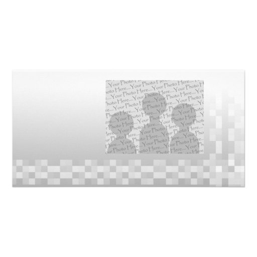Light Gray and White Squares Pattern. Photo Card Template