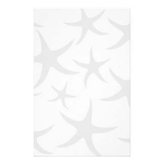 Light Gray and White Starfish Pattern. Customized Stationery