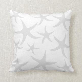 Light Gray and White Starfish Pattern. Throw Cushions
