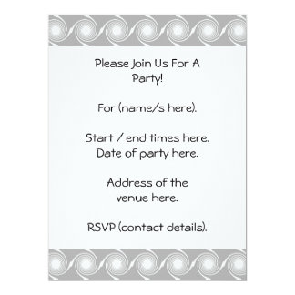Light Gray and White Swirl Pattern. 17 Cm X 22 Cm Invitation Card
