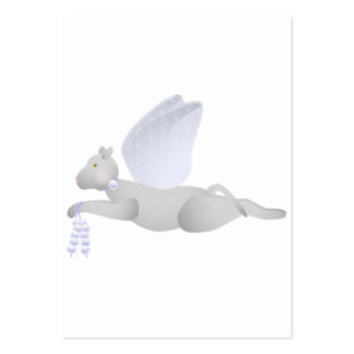 Light Gray Angel Cat With Blue Wings Business Cards
