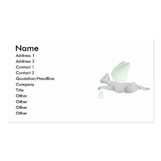 Light Gray Angel Cat With Green Wings Business Card Template
