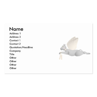 Light Gray Angel Cat With Orange Wings Business Card