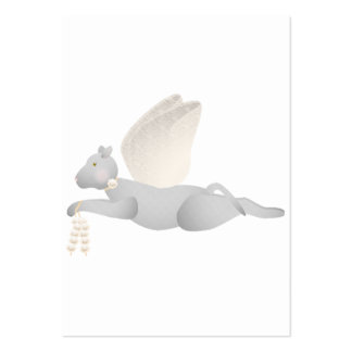 Light Gray Angel Cat With Orange Wings Business Cards