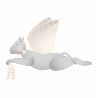 Light Gray Angel Cat With Orange Wings Cut Outs