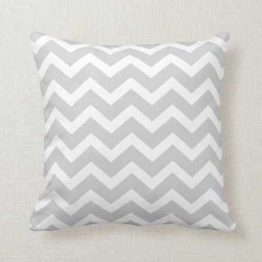Light Gray Chevron Stripe Pillow