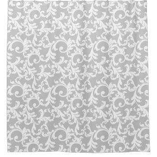 Light Gray Elegant Damask Shower Curtain