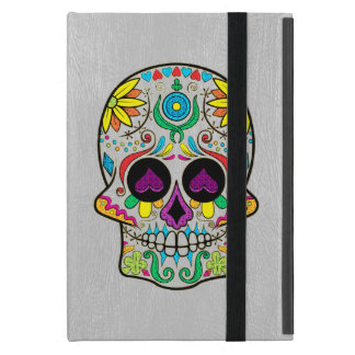 Light Gray Faux Leather & Colorful Sugar Skull Case For iPad Mini