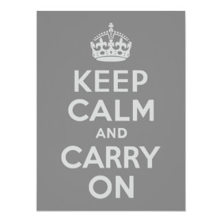 Light Gray Keep Calm and Carry On Custom Invitations