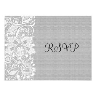 Light Gray Linen Burlap White Vintage Lace - RSVP Custom Invitation