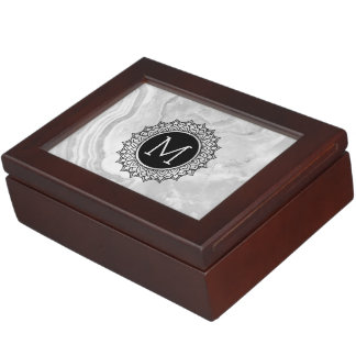 Light Gray Marble & Ornate Black Circle Keepsake Box