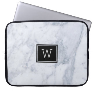 Light Gray Marble Stone Texture Black Accents Laptop Sleeve