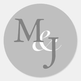 Light Gray Monogrammed Wedding Envelope Seals Round Sticker