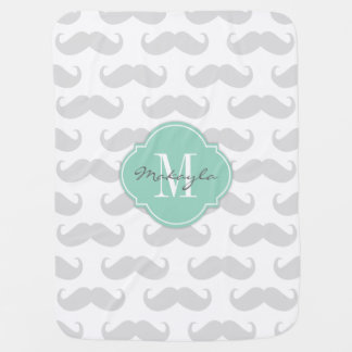 Light Gray Mustache Pattern with Monogram Baby Blanket