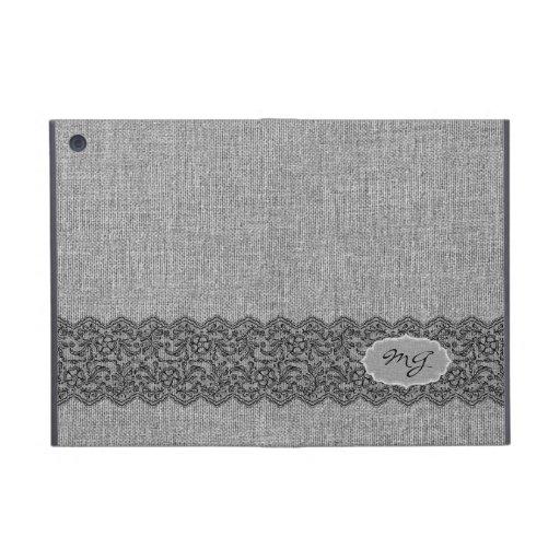 Light Gray Natural Linen & Black Vintage Lace iPad Mini Cover