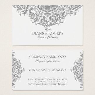 Light Gray Ornate Vintage Mandala Swirls Business Card
