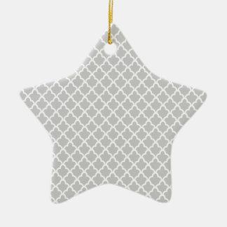 Light Gray Quatrefoil Ceramic Star Decoration