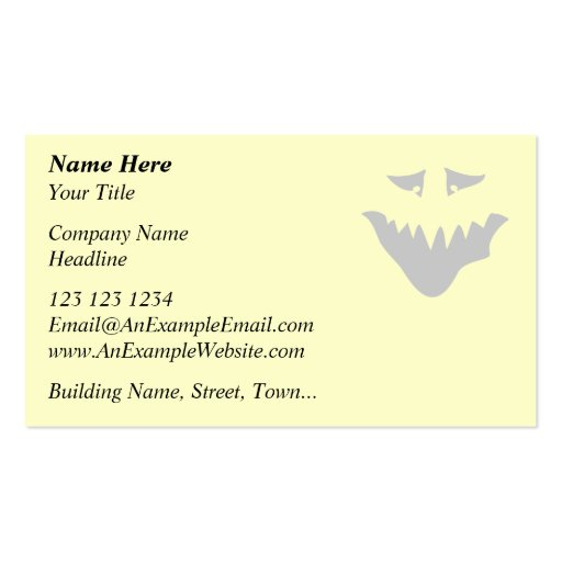 Light Gray Scary Face. Monster. Business Card Templates