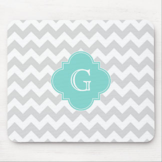 Light Gray White Chevron Aqua Quatrefoil Monogram Mouse Pad