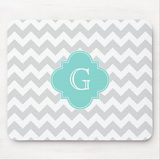 Light Gray White Chevron Aqua Quatrefoil Monogram Mousepad