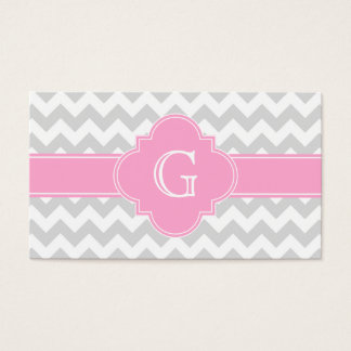 Light Gray White Chevron Pink Quatrefoil Monogram Business Card