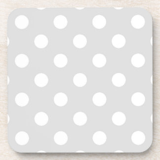 Light Gray White Large Polka Dot Pattern Beverage Coasters